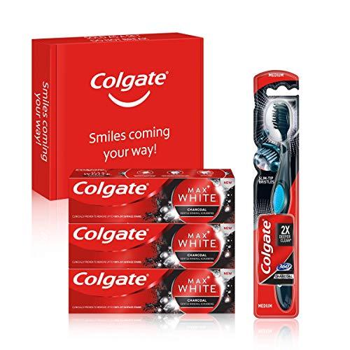 Colgate Kit Blanqueante al Carbón con Pasta de Dientes Blanqueante Max White Carbón (3 x 75 ml) y Cepillo Blanqueador Max White 360 (1 ud)