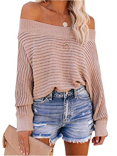 ZIYYOOHY Damen Oversize Pullover Schulterfrei Fledermaus Ärmel Strickpullover Pulli Oberteile Langarmshirt (L, 12007 Pink)