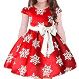 Baby Toddler Girls Princess Christmas Year Holiday Pageant Party Wedding Bridesmaid Tutu Dress Bowknot Striped Snowflake Gown Red Snowflake 5-6 Years