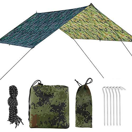 miuline Hamaca Mosca de Lluvia Carpa Lona 300 * 290cm Camping Lona Impermeable a Prueba de Viento a Prueba de Nieve Ligero y Portátil Sombrilla para la Nieve Camping Viajes al Aire Libre