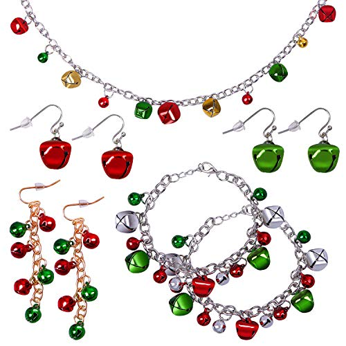 URATOT 9 Pieces Christmas Jingle Bell Necklace Bracelet Dangle Earring Christmas Costume Jewelry Set for Christmas Party Favor