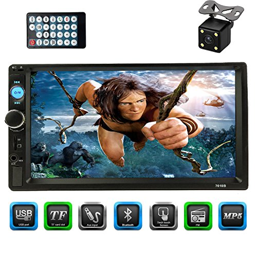 "CACA 7"" inch Double Din Touchscreen in Dash Stereo Car Receiver Audio Video Player Bluetooth FM Radio MP3 MP5/TF/USB/AUX,Remote Control,Rear View Camera"
