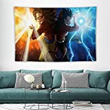 PPJ Goku and Vegeta SSJ4 Wall Tapestry Dragon Ball Anime Art for Bedroom Wall Hanging Tapestries Black and White Kits for Adults Tapestry Inside Home Decorations for Living Room Bedroom 40'×60'