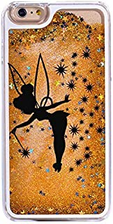iPhone 6 / 6S , Bling Glitter Hard Case Bumper Clear Cover - Black Fairy Angel in Gold Glitter