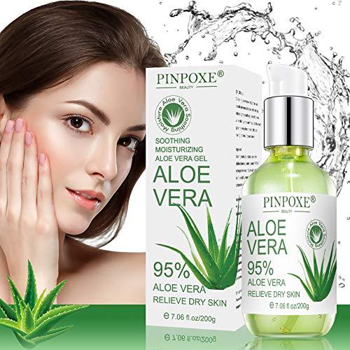 Aloe Vera Gel, 99% After Sun Aloe Vera, Gesicht, Haare und Körper, Natürliche, Beruhigende und pflegende Feuchtigkeitscreme, Trockene, Strapazierte Haut & Sonnenbrand 200ml