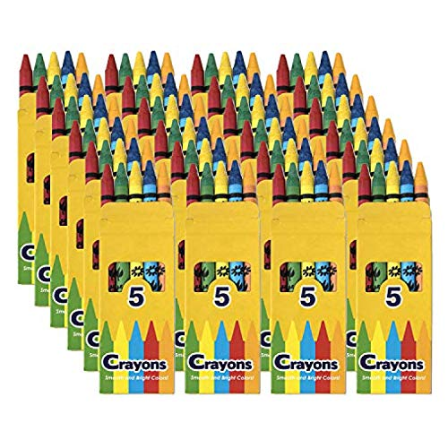 96 Pack Crayons - Wholesale Bright Wax Coloring Crayons in Bulk, 5 Per Box in Assorted Bundle Art Sets (96 Pack)