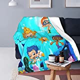 Soft Micro Fleece Blanket Bubble Guppies Plush Throws Blanket for Children Kids Boys Girls for Bed Sofa Couch Chair Lightweight for All Season Gift 50'X40'