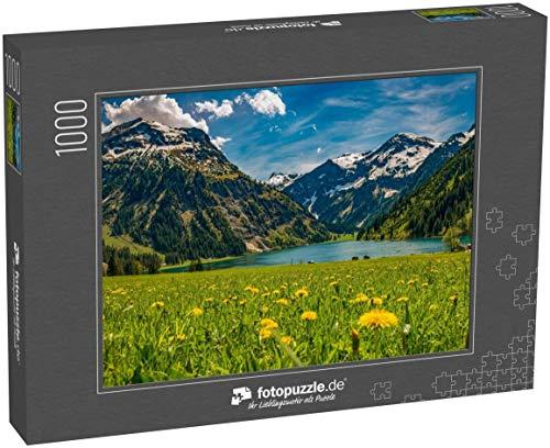 fotopuzzle.de Puzzle 1000 Teile Vilsalpsee im Frühling mit Blumenwiese und Bergen im Hintergrund Tannheimer Tal Österreich