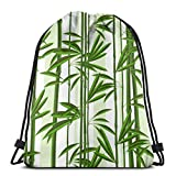 Zhark - Bolsa de deporte con cordón para plantas tropicales de bambú y hojas, ideal para el gimnasio, para el aire libre, viajes, escuela, mochila para mujeres y hombres