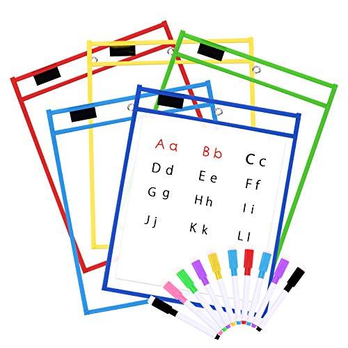 5 Pack Dry Erase Pockets, Opret Fundas Fichas de Papel de Gran Tamaño 25.5x33 cm / A4 con Bolígrafos, 5 Colores Diferentes, para la Organización en el Aula y Colegio, Guardería, Ludoteca