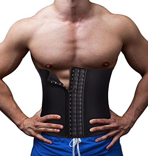 TAILONG Men Waist Trainer Belt Workout for Body Weight Loss Fitness Fat Burner Trimmer Band Back Support (Black, S)