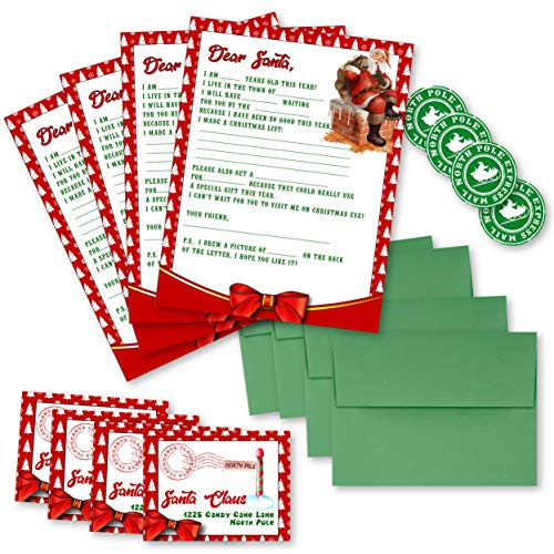 Letters to Santa kit - 4 Pack - Envelopes, Letters, Labels, and Stickers for Kids (Vintage Red)