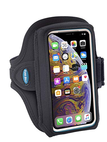Tune Belt Model AB89 Armband for iPhone 11 Pro, X Xs 8 7 Samsung Galaxy S8 S9 S10e Sized to fit with OtterBox Defender / Large Case - For Running & Working Out - Sweat-Resistant