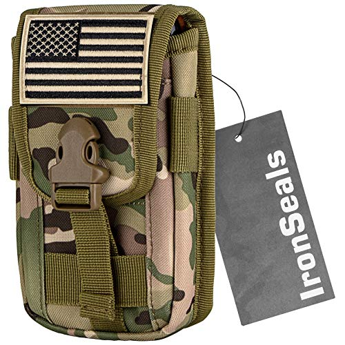 IronSeals Tactical Cell Phone Holster Pouch, Tactical Smartphone Pouches EDC Cellphone Case Molle Gadget Bag Molle Attachment Belt Holder Waist Bag for 4'-6.5' with Armor Case on with US Flag Patch