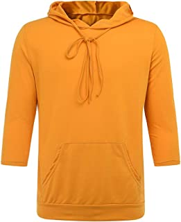 Outeck Pullover for Men 3/4 Sleeves Solid Color Hoodies Loose Oversized Hooded Shirt Hooded Tees Sweatshirt Top Shirt (2XL, Yellow)