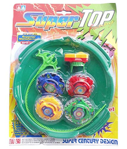 Luipui Advanced Super top high Speed beyblades Set 4 in 1 Super Power Fusion with Spinning Battle top and Handle Launcher Awesome Toy for Children- Multi Color