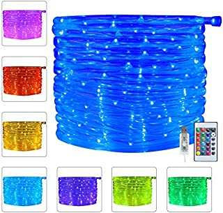 Ollny LED Rope Lights 33ft 16 Colors Changing Outdoor 100 LEDs 4 Modes USB Powered Rope Tube Lights with Remote Timer for Wedding Christmas Party Waterproof Indoor Decoration NOT CONNECTABLE