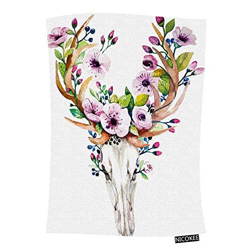 Nicokee Deer Skull Throw Blanket Bohemian Watercolor Western Mystical Deer Skull Vintage Animal Rose Flowers Flannel Throws Blanket for Couch, Bed, Chair, Traveling and Camping