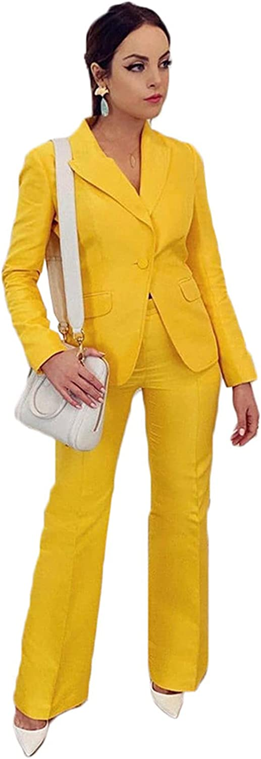 Yellow Women Suits Blazer Set Wedding Tuxedos Party Wear Suits