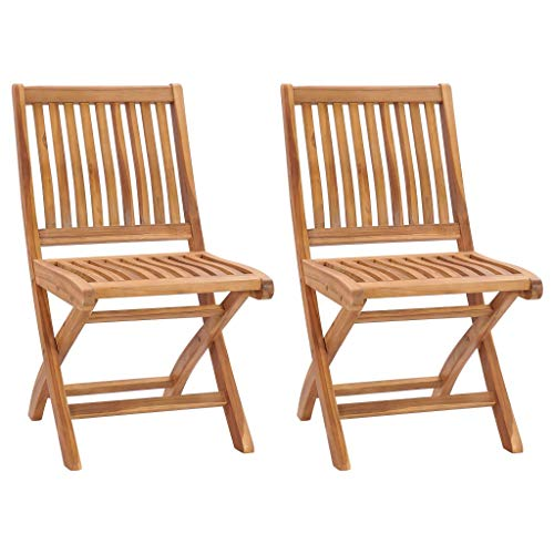 vidaXL 2X Teak Massiv Gartenstuhl Klappbar ohne Armlehnen Hochlehner Klappstuhl Stuhl Gartenmöbel Gartenstühle Holzstuhl Essstuhl Stühle