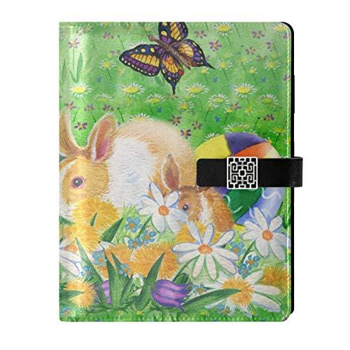 Cuaderno de cuero para escribir diarios, cuaderno de notas, para viajes, conejos de Pascua, flores de primavera, rellenables, tamaño A5 interior, cuaderno de tapa dura, regalo para mujeres y hombres