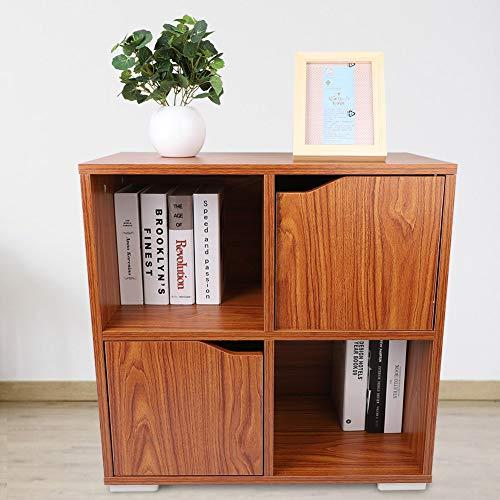 lyrlody- boekenkast staande kast roomdivider kinderkast commode dressoir kast ladecommode met 4 vakken 2 deuren voor het huishouden