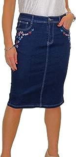 icecoolfashion Stretch Denim Jeans Skirt Embroidered Rose Indigo Dark Blue 12-24