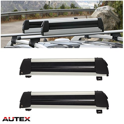 AUTEX 30'' Aluminum Universal Ski Rack Snowboard Rack Rooftop Mounted Carrier for Most Vehicles Equipped with Cross Bars Snow Rack