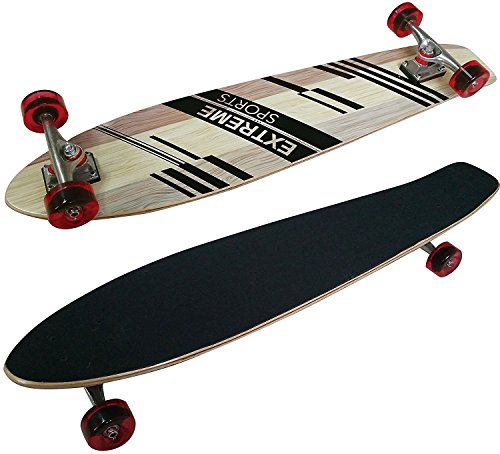 "Longboard LA Sports Pintail Cruiser 38,5"" - komplett mit ABEC 5 Kugellager- Single Kicktail Deck aus 9-lagigem Ahorn Anti-Rutsch Griptape Härtegrad 83A"
