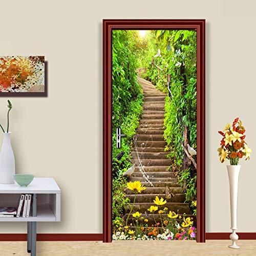 3D Türaufkleber PVC Selbstklebende Wasserdichte Steintreppen Abnehmbare Art Decals TürPoster für Wandbild Wohnzimmer Schlafzimmer Badezimmer Dekoration 77x200 cm