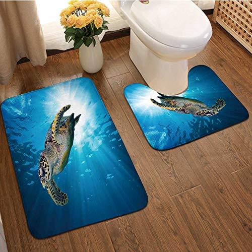 Hawks Bill sea Turtle Dive into The deep Blue Ocean Against Sun,2 Pieces Bathroom Bath Rugs Set, Soft Flannel U Shaped Toilet Floor mat,Mat for Bathroom