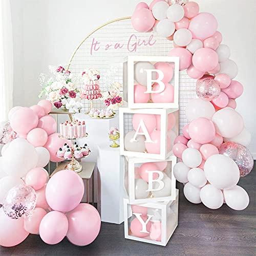 MMTX Baby Shower Decoraciones Niña,100 Piezas Rosa Blanco Globos Guirnalda Kit con Látex Confeti Globos para It's a Girl Revelar el Género,Niña Cumpleaños Fiesta Boda Decoración Globos