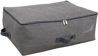 Aqiong CGS2 Sac de rangement rétro en toile pour ranger les vêtements doux et lavable, grand sac de couette en coton avec ...