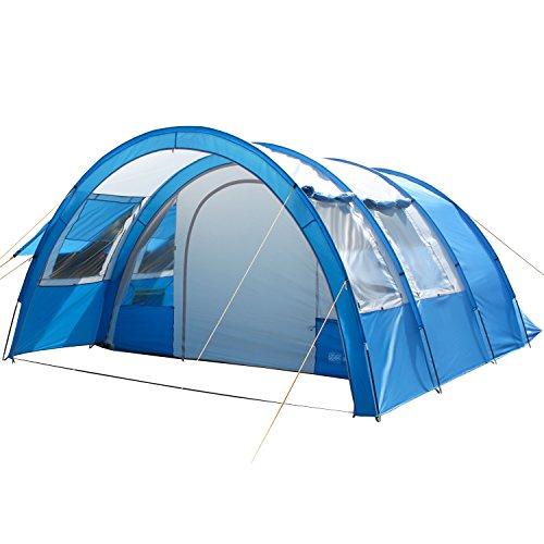 skandika Kemi 4 Personen Tunnelzelt mit 2 Schlafkabinen und 3000mm Wassersäule (blau/grau)