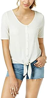 Freshman Juniors' Rib-Knit Tie-Front Top