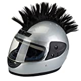 PAXLamb Helmet Hawks Motorcycle Helmet Mohawk Wigs Helmet Mohawk Wig for Motorcycle Bicycle Ski Snowboard Helmet Hair Patches Skinhead Costumes Wig Cosplay Wig (Black)