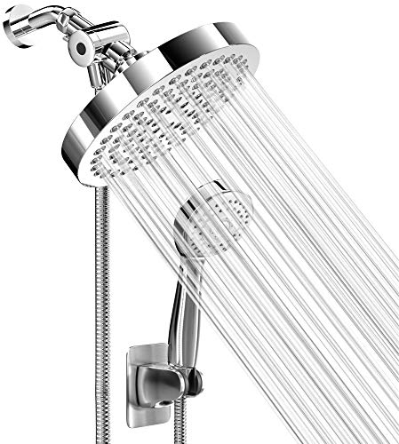 High Pressure Rainfall Shower Head and Hand Held Shower Head Combo with 70 Inch Hose for Bath and Adjustable Swivel Head - Easy Install Anti Clog Jet Nozzles - Universal Fit for High, Low Water Flow