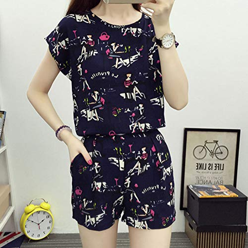 Msleep 2pcs/Set Summer Suit Short Sleeves Tops Short Pants Loose Round Neck Casual Female Outfits