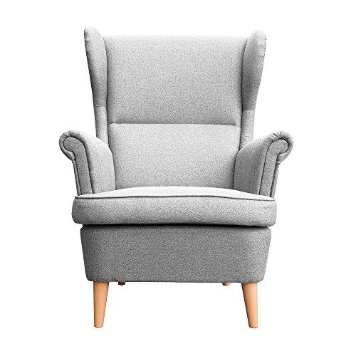 myHomery Sessel Luccy gepolstert - Ohrensessel Polsterstuhl für Esszimmer & Wohnzimmer - Lounge Sessel mit Armlehnen - Eleganter Retro Stuhl aus Stoff mit Holz Füßen - Hellgrau | Sessel
