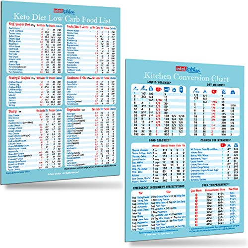 Useful Kitchen Gift Set: Keto Diet Low Carb Top 100 Food List + Kitchen Conversion Chart Magnets 8'x11' Baking Cooking Measurement Recipes Cookbook Accessories Magnetic Cheat Sheet Easy To Read