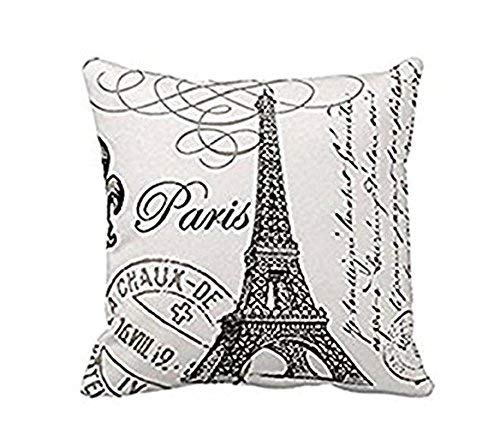 Reeseiy Paris Tour Eiffel Coussin En Lin Lin Coton Simplicité Mode Simple Style Confortable Chic Usage Quotidien (Color : Colour, Size : Size)