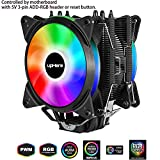 upHere 4 Heatpipes ARGB LED Ventilateur de Processeur avec 2 * 120mm PWM Ventilateur-Soutien ASUS...