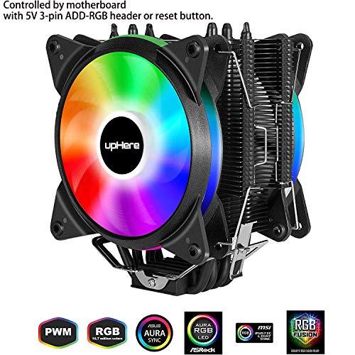 upHere 4 Heatpipes ARGB LED Ventilateur de Processeur avec 2 * 120mm PWM Ventilateur-Soutien ASUS Aura Sync/GIGABYTE ARGB Fusion/MSI Mystic Light Sync/AsRock Polychrome Sync-AC12RGB