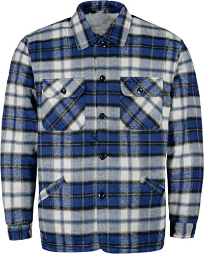 normani Herren Thermohemd Winterhemd Thermojacke Hemdjacke Blau/Weiß-Kariert Gr. S-XXXL Größe M