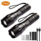 XVZ High-Powered LED Flashlight S1000 [2 PACK] - Brightest High Lumen Light with 5 Modes(2 batteries include), Zoomable, and Water Resistant I Powerful Camping