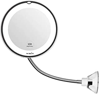 Womdee Makeup Mirror, 10X Magnifying Vanity Mirror With Lights, 360 Degree Rotation With Adjustable Gooseneck, Bathroom Flexible Mirror With Suction Cup, Portable Cordless Perfect For Wall Mounted