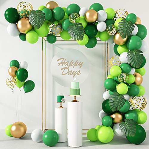 140Pcs Jungle Party Balloons Garland Arch Kit, 12''10''5'' Gold Lime Green Balloons with Artificial Tropical Palm Leaves for Dinosaur Safari Party Decorations Wild One Birthday Party Supplies