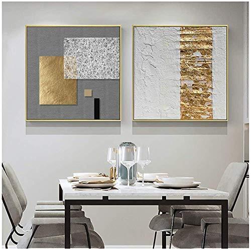 Surfilter Impresión en lienzo Arte de pared de lámina de oro retro abstracto Impresiones en lienzo Carteles cuadrados Cuadros de pared para sala de estar Decorativo 23.6& rdquo; x23.6ABC 22 rdquo