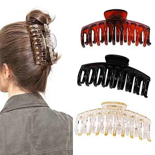 NASHRIO Clips de pelo grandes para mujeres y niñas, paquete de 3 clips de plástico antideslizantes para cabello grueso y fuerte agarre para mandíbula de pelo de gran tamaño accesorios para el peinado