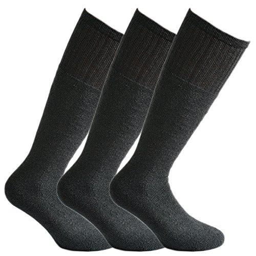 Fontana Calze, 6 paia di calze LUNGHE sportive in cotone spugna GRIGIO ANTRACITE